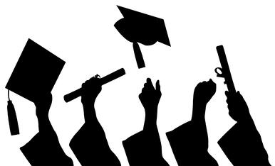 Graduates with diplomas and caps, vector image