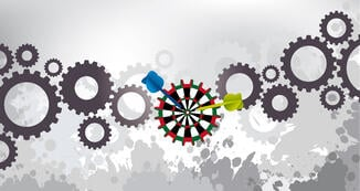 Cogs and target  vector image representing strategy for a grants office