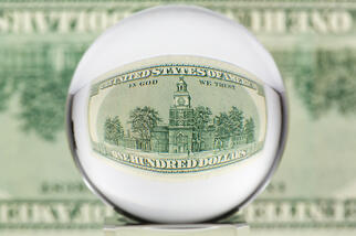 One hundred dollar bill through a glass sphere, transparency of federal grant funds