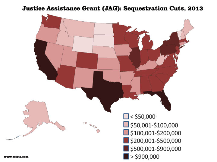Map of Justice Assistance Grant (JAG) program sequestration cuts for 2013