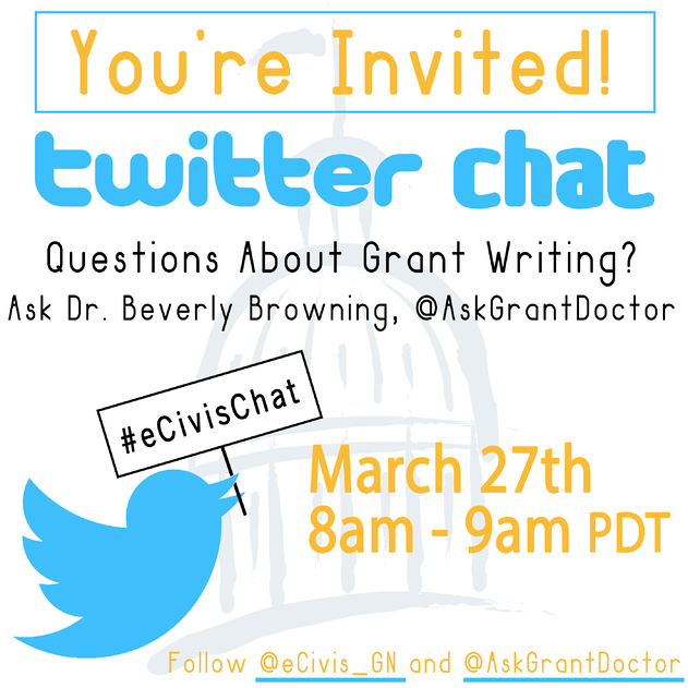 Grant writing Twitter chat hosted by eCivis and Dr. Beverly Browning for new and veteran grant writers,