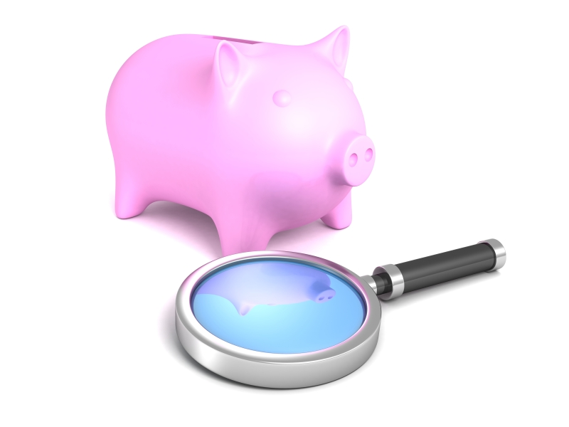 Piggy bank and magnifying glass representing audit findings