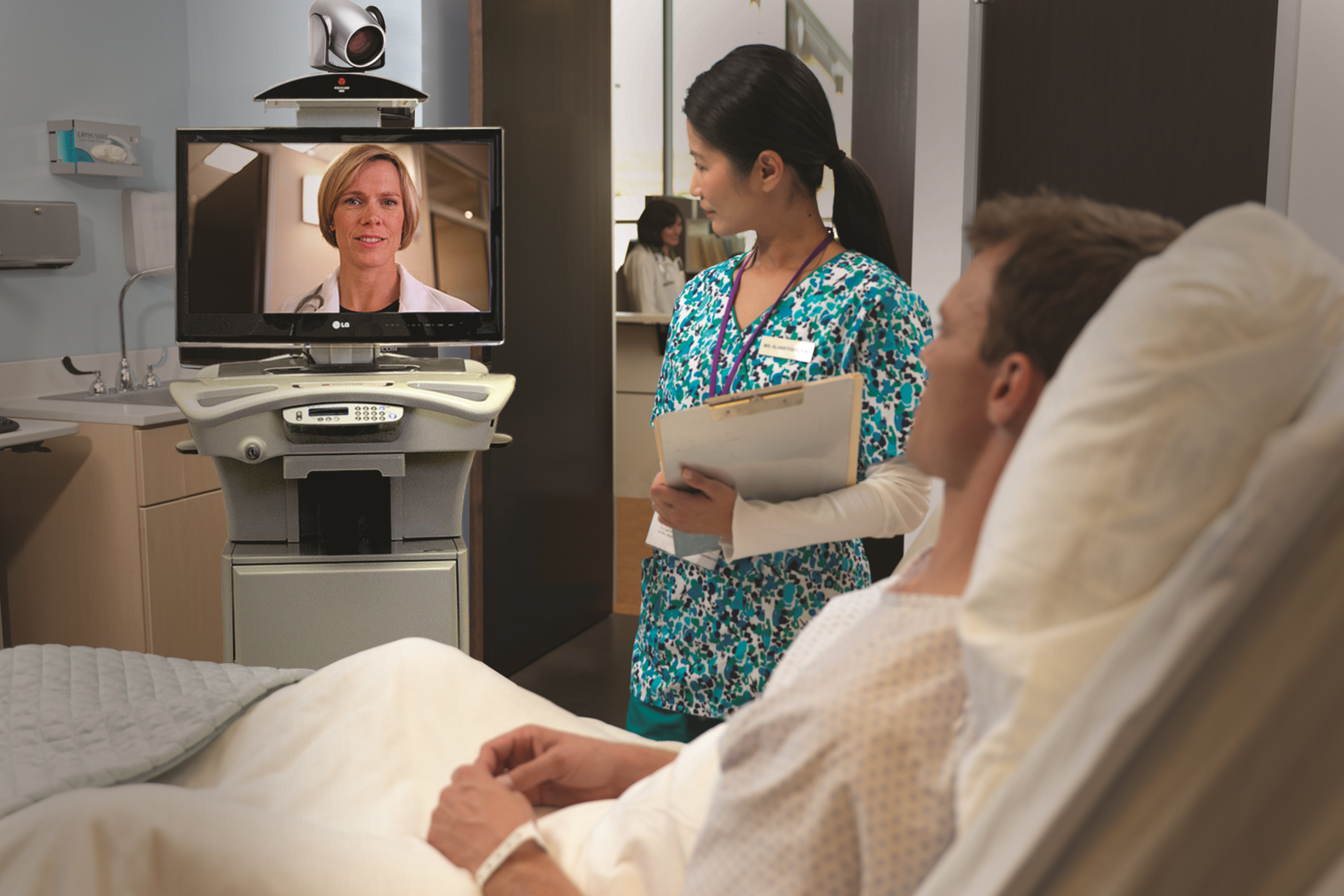 Telemedicine, teleconferencing with a doctor and patient and nurse