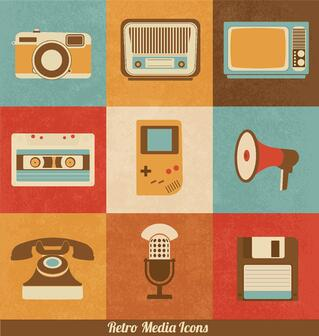 Retro Media Icons in an Survey About How Grants Have Changed Since 1990