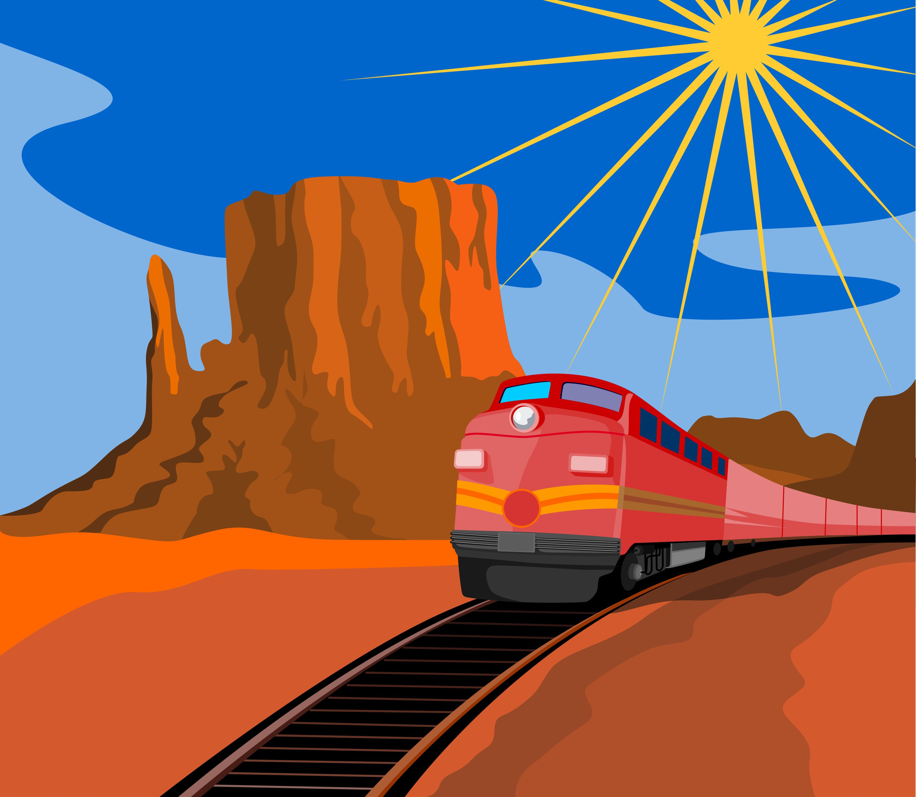 Train in Desert in an Article About Railroad Safety Grants